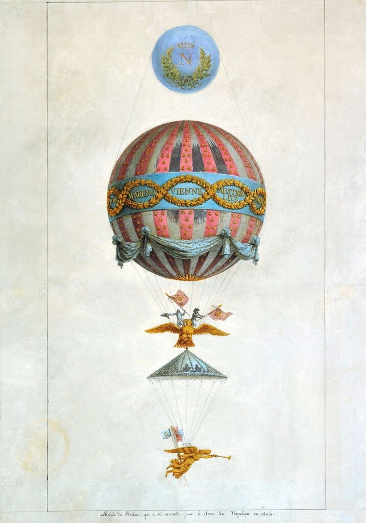 Design of a hot-air balloon for the coronation of Napoleon. Watercolour, 1804, Bibliothèque nationale de France