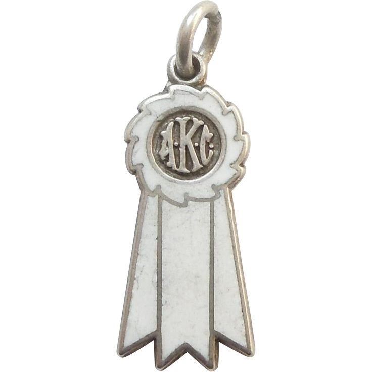 AKC Dog Show Winner's Sterling Silver and Enamel Ribbon Charm – White Ribbon 4th Place