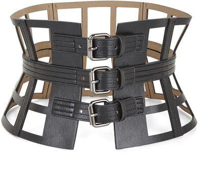 BCBGMAXAZRIA Grid Cutout Corset Waist Belt