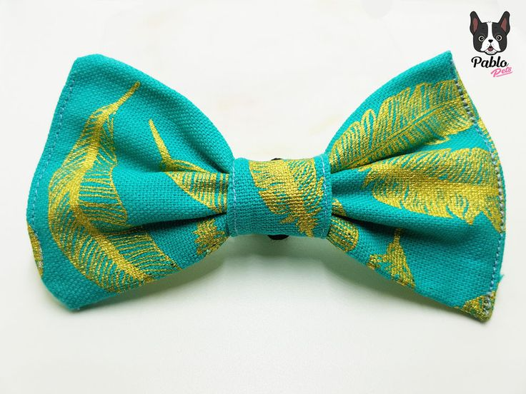 Turquoise Teal, Blue Green || Cat or Dog BOW TIE || in 'Gold Leaf' by Pablo Pets #PabloPets