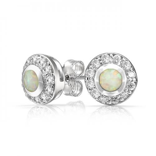 Round Circlet CZ Inlay White Opal Stud Earrings 925 Sterling Silver
