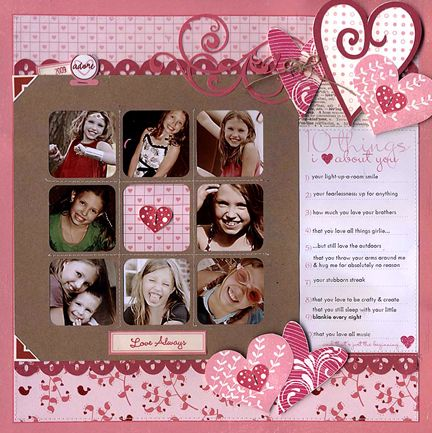 Scrapbook page layout...cute hearts
