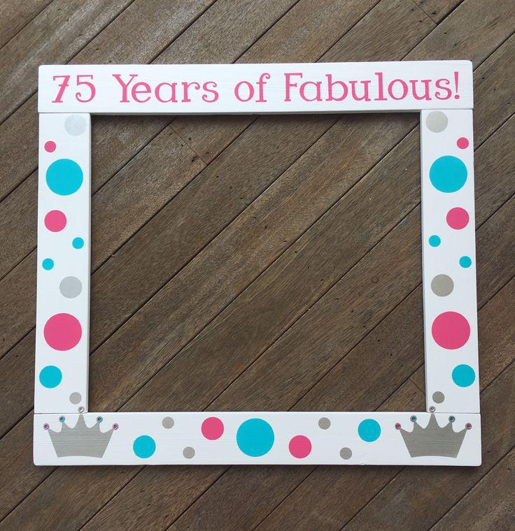 Birthday Photobooth - Princess Photo Booth Frame - 75th Birthday Photobooth Frame Prop - Wood Photo Frame Prop
