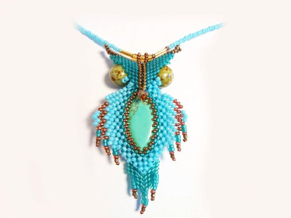 FREE SHIPPING Turquoise Owl necklace OOAK Blue Bird by Mamyblue, $55.00