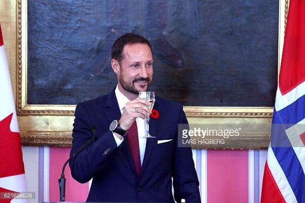 Crown Prince Haakon of Norway delivers remarks during a lunch at Rideau Hall in Ottawa Ontario on November 7 2016 Crown Prince Haakon and HRH Crown...