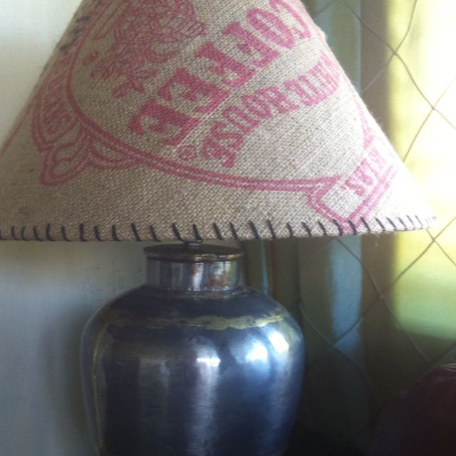 Recovered lampshade in old coffee bean sack.