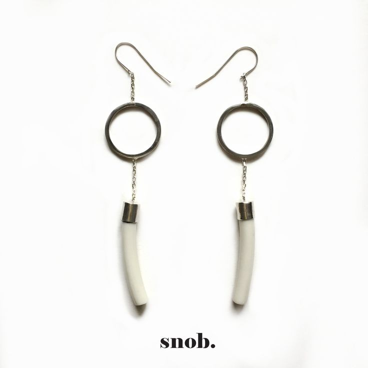Silver and porcelain long earrings ‪#‎snob‬ ‪#‎snobdot‬ ‪#‎jewelry‬
