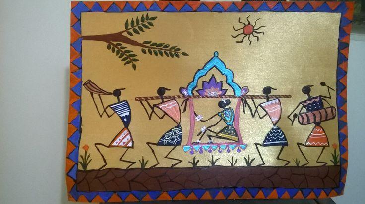 Warli painting marriage -Doli by Seema Jay