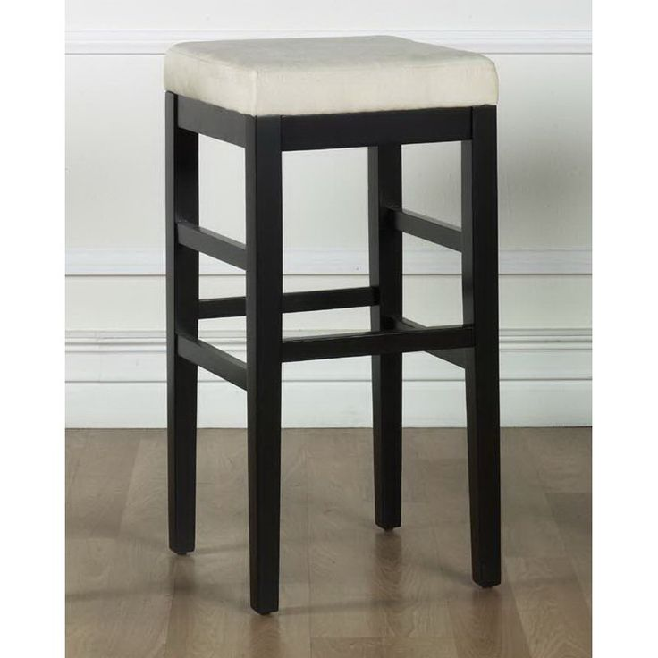 Armen Living Sonata 26 in. Black Counter Height Stool with Microfiber Seat