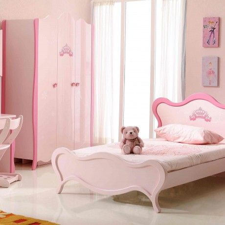 Bedroom : Pink girl room with wooden study desk together with unusual shaped study chair and pink wooden bed plus curve headboard as well as footboard - 15 Study Desk for Pretty Girl Room Decorating
