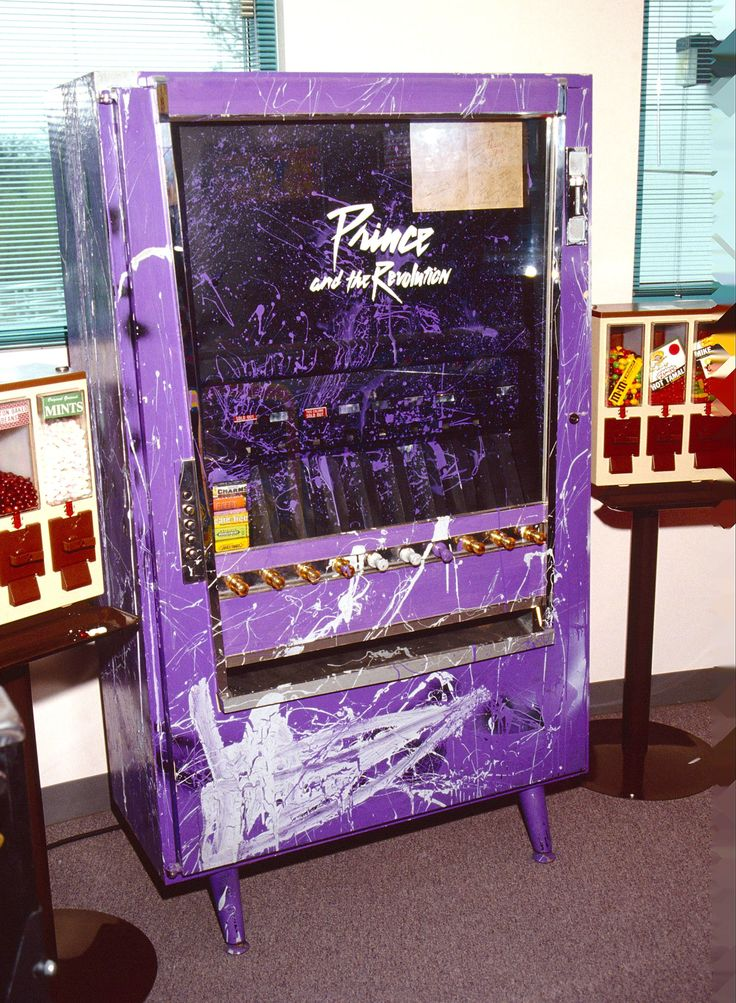 1990--He had a custom-made vending machine, which looks to be stocked with gum. Convenient