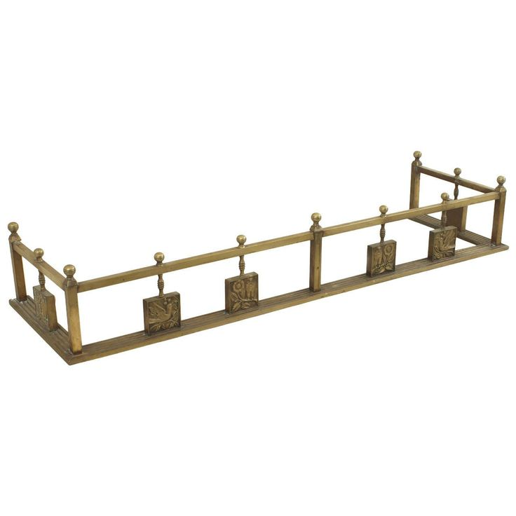English Arts and Crafts Brass Fire Fender | From a unique collection of antique and modern fireplace tools and chimney pots at https://www.1stdibs.com/furniture/building-garden/fireplace-tools-chimney-pots/