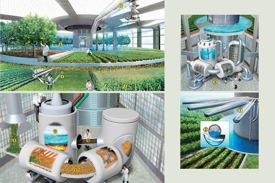 Système de filtration d'eau - contrôle de la maturité des fruits et légumes - réutilisation des déchets pour fournir de l'énergie - récolte de la vapeur d'eau © Rolf Mohr / Chris Jacobs