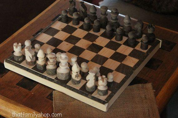 Rustic Log Chess Set