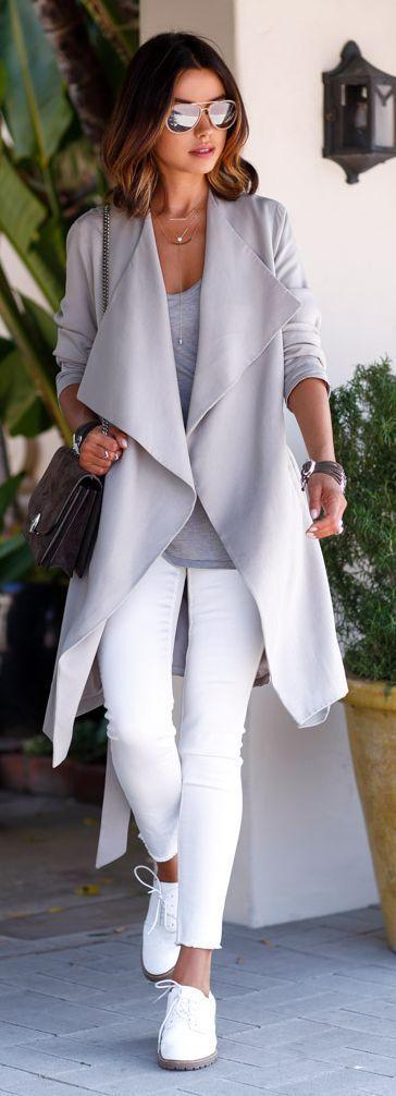 Shop this look on Lookastic: https://lookastic.com/women/looks/open-cardigan-long-sleeve-t-shirt-skinny-jeans/17840   — Grey Sunglasses  — Grey Open Cardigan  — Grey Long Sleeve T-shirt  — Black Leather Watch  — Dark Brown Suede Crossbody Bag  — Dark Brown Bracelet  — White Skinny Jeans  — White Leather Oxford Shoes