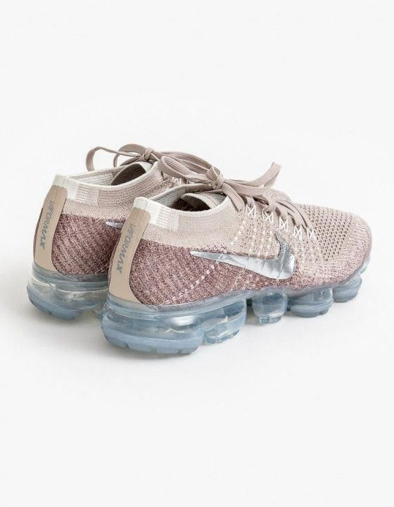 Womens Nike Air Vapormax Flyknit Running Shoe - String Chrome-Sunset  Glow-Taupe Grey  runningshoes 081e63046