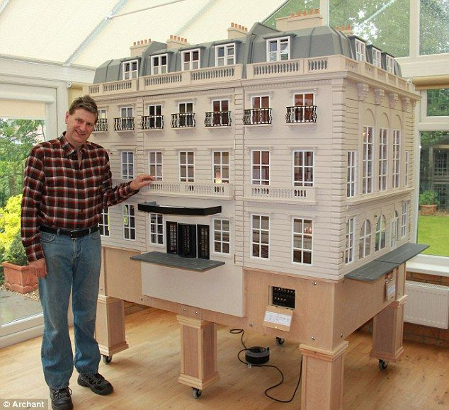 Miniature marvel: As normal dollhouse electrics could not support the massive wattage needed for the complex lighting scheme, Mr Hartnell had to use mainstream components to light up the masterpiece