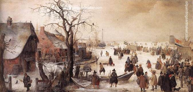 Barent Avercamp Winter Scene on a Canal, painting Authorized official website