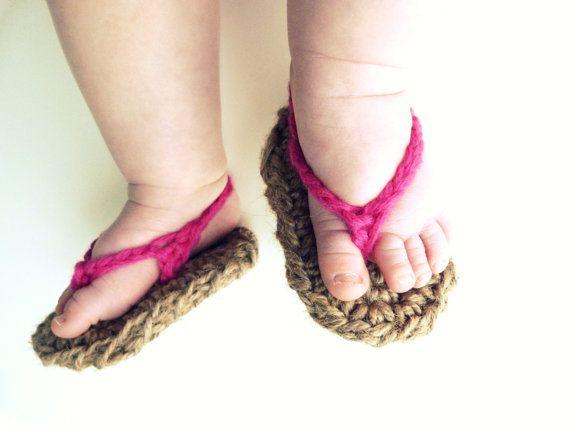 Crochet baby shoes-Flip Flops