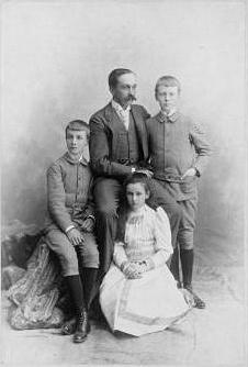 Prince Miguel of Portugal, Duke of Braganza with his children, from left: Prince Miguel, Duke of Viseu (1878 - 1923), Prince Francis Joseph (1879 - 1919) and Princess Maria Teresa (1881 - 1945) of Braganza