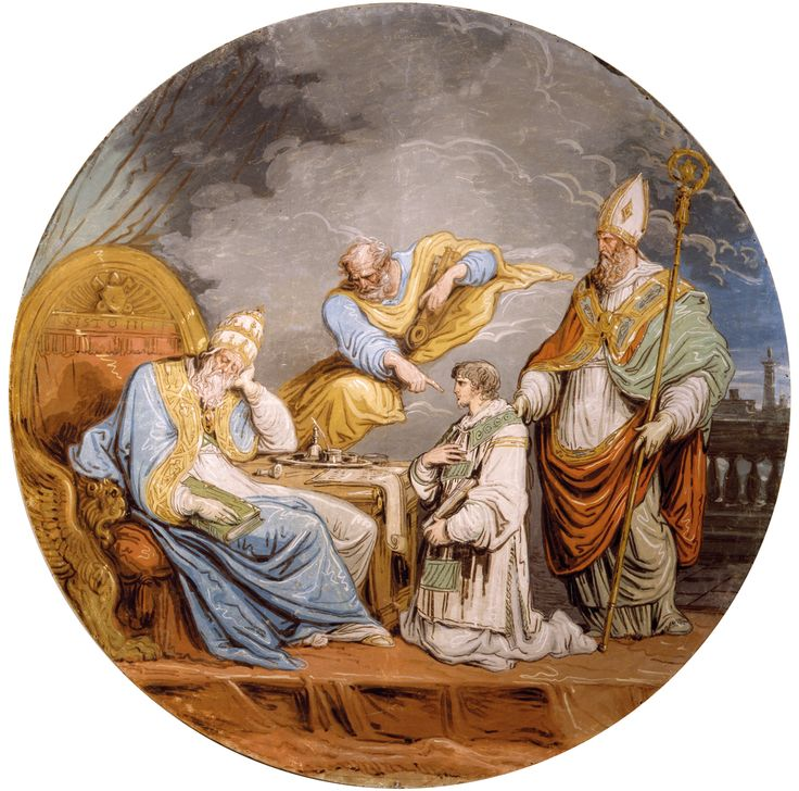 "Archiepiscopal Museum - ""The Dream of Pope Sixtus III: the Saints Peter and Apollinaris indicate Saint Peter Chrysologus as Archibishop of Ravenna"", Felice Giani, c. 1817, oil on canvas [ #Ravenna #myRavenna]"
