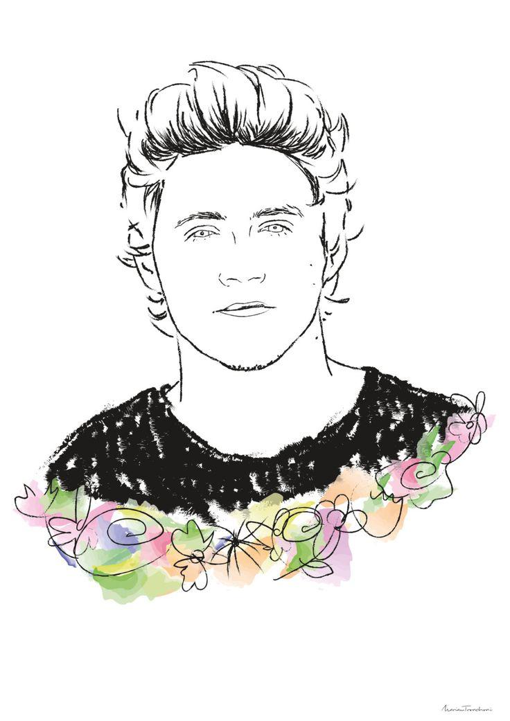 Niall Horan (One Direction) Poster Illustration de MariamTronchoni en Etsy #onedirection #niallhoran #illustration #drawing