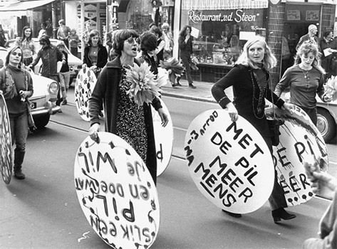 Dutch Feminism in the 60s, Dolle Mina's protest 'Take a Pill and do what you Want', 'With the Pill More Human'.