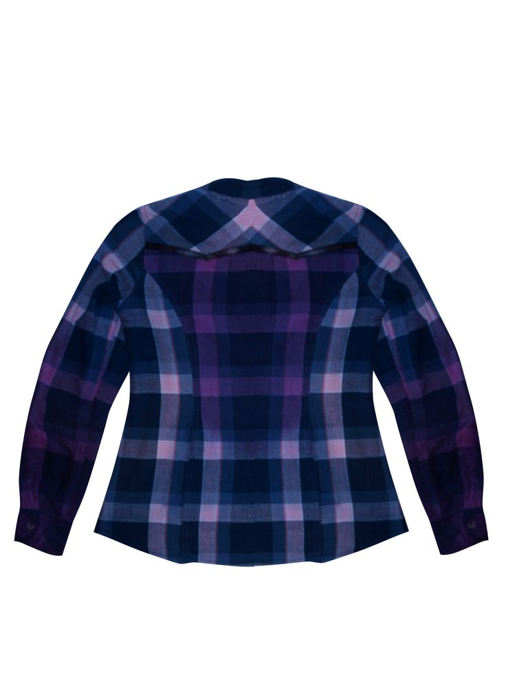 A #DIY dip dyed shirt with #ombre panels and a leather trim. #Upcycling #plaid