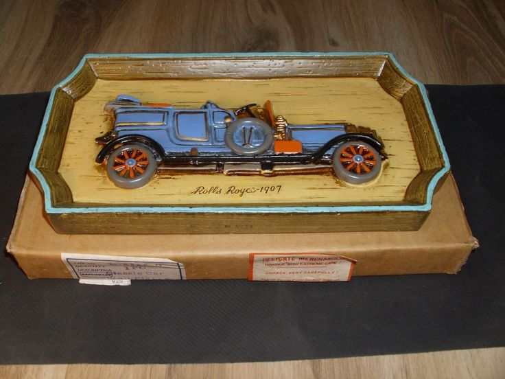 Rare Napcoware Import Japan Hand Painted Wood Plaque ~ 1907 Rolls Royce
