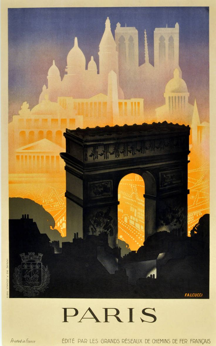 Robert Falcucci - Paris: original vintage 1930s art deco travel poster by Robert Falcucci | 1stdibs.com