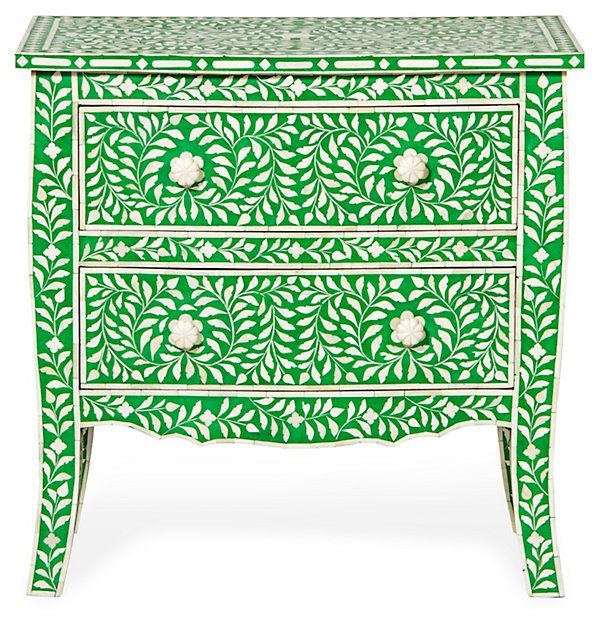 Bone-Inlay 2-Drawer Chest, Green | Downstairs | One Kings Lane