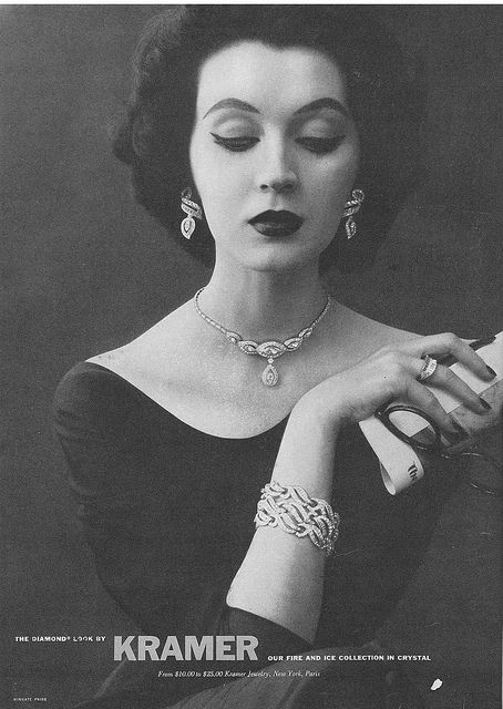 1952 vintage Kramer #costume #rhinestone #jewelry ad featuring DOVIMA