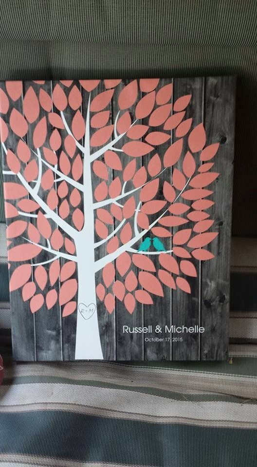 Darkwood Wedding Tree Canvas | Guest Book Alternative | Rustic Wedding | Customer Photo | Wedding Colors - Coral & Teal | peachwik.com