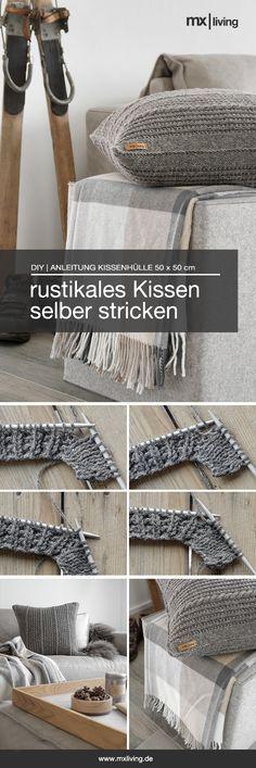 DIY   rustikale Kissen im Alpenlook selber stricken inklusive Schritt-für-Schritt Anleitung