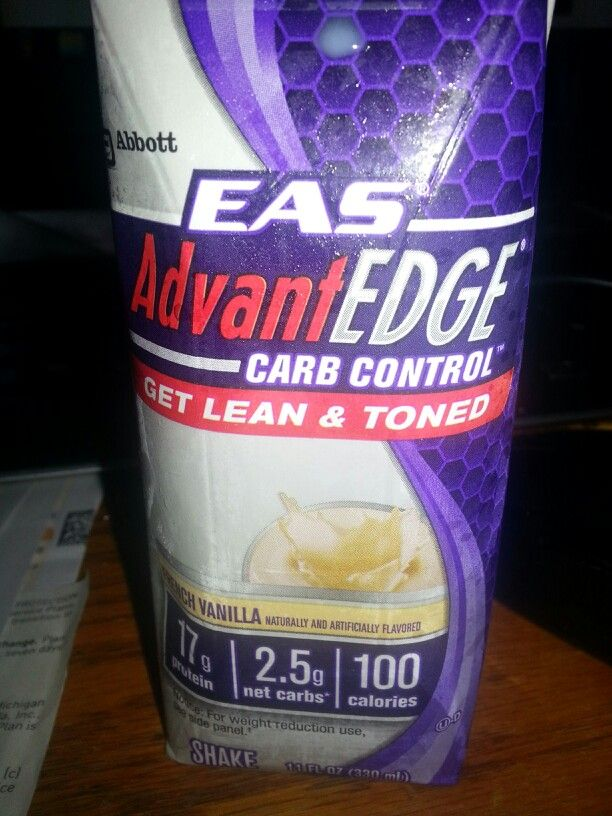 Best diet shake I've found so far for nutrition content/low carbs -- EAS AdvantEDGE Carb Control French Vanilla:  17g prot, 100 cal, 2.5g fat, 3g carb.  11 oz, delicious!  I'll definitely buy this again.  This is found at Riesbeck's & at Sam's Club.  The chocolate is also delicious.