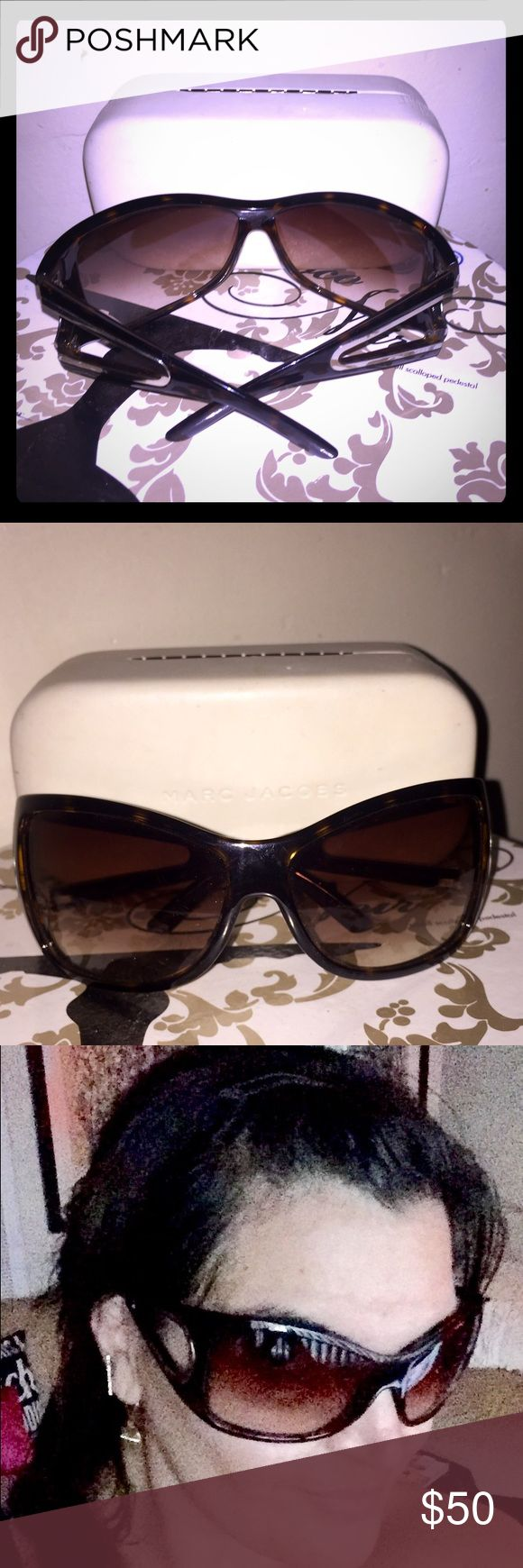 Marc Jacobs Women's Sunglasses Gorgeously glam Marc Jacobs glasses, w/ oversized square frames, a subtle Cateye shape & metallic cutout arms for sturdy, stylish protection. Tortoiseshell brown, gold-tone accents. Leather hard-shell snap case included. Case has a few scuffs; glasses are in excellent condition. Marc Jacobs Accessories Sunglasses