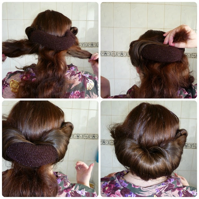 Easy-Peasy Back Roll. Wow, I love the look of this rolled hairstyle. I didn't think choosing a very thick hair rat would create something like this. Very pretty!
