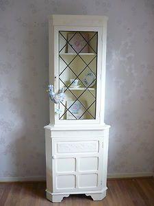 Shabby Chic Glazed Corner Dresser Display Unit Hand Painted In Farrow Ball