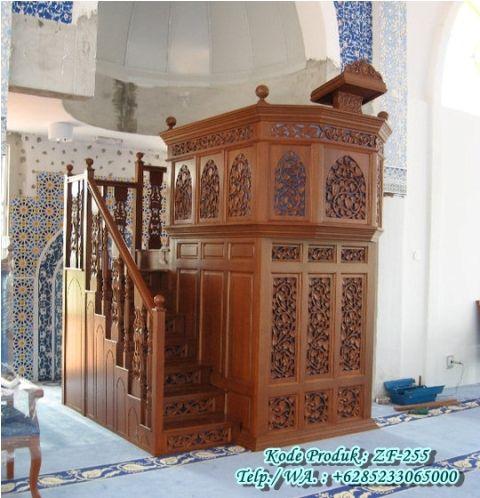 Mimbar Masjid Kubah Warna Emas Kayu Jati Jepara www.ukirmebeljepara.net | www.zahirartfurniture.com