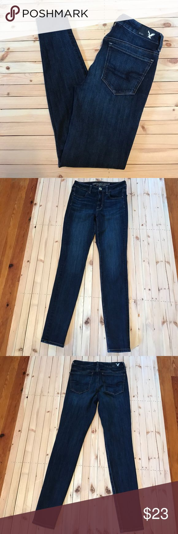 2R AEO Hi-Rise Jeggings Dark Wash AEO Hi-Rise Jeggings. Dark wash. Size 2 REG. In excellent gently used condition! No stains and no signs of wear. 360degree super stretch. Check out my closet for more AEO jeans! Bundle to save ☺️ (the button does have some scratches on it) American Eagle Outfitters Jeans