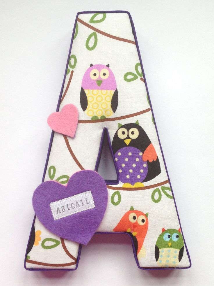Fabric covered letter - A for Abigail