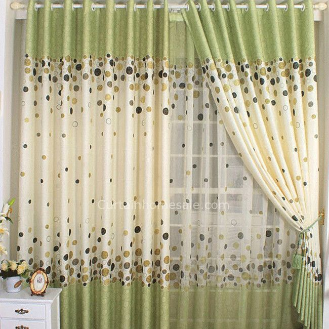 Green Style Outdoor Polka Dots Inexpensive Window Curtains