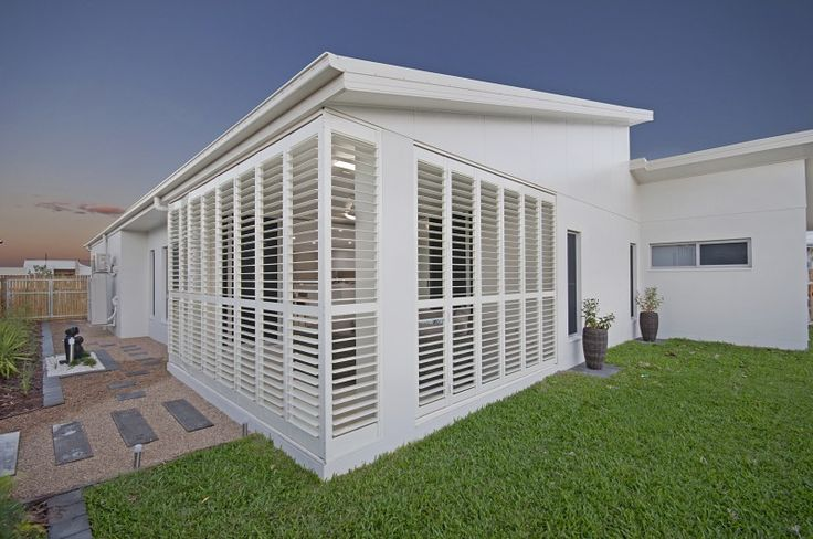 With the Bermuda 2000 Outdoor Shutters you can blend your patio seamlessly with your home! #blinds #shutters