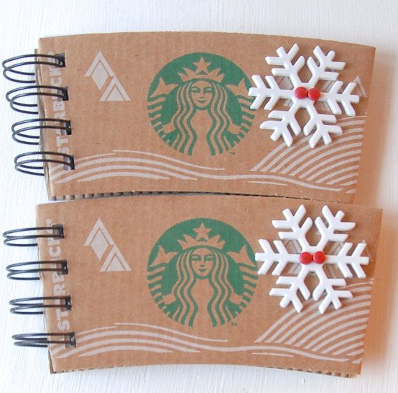 STARBUCKS Christmas Holiday SPIRAL NOTEPAD made out of Coffee Sleeves-set of 2 on Etsy, $6.00