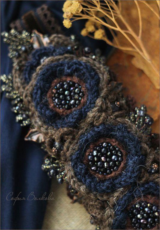 """Купить Диадема """"Черничный полдень"""" - диадема, диадема с цветами, ободок с цветами, украшение в прическу"""
