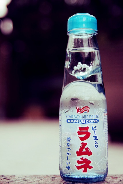 Japanese soda. I actually had a melon flavored one of these and it was good and the bottle was super cool