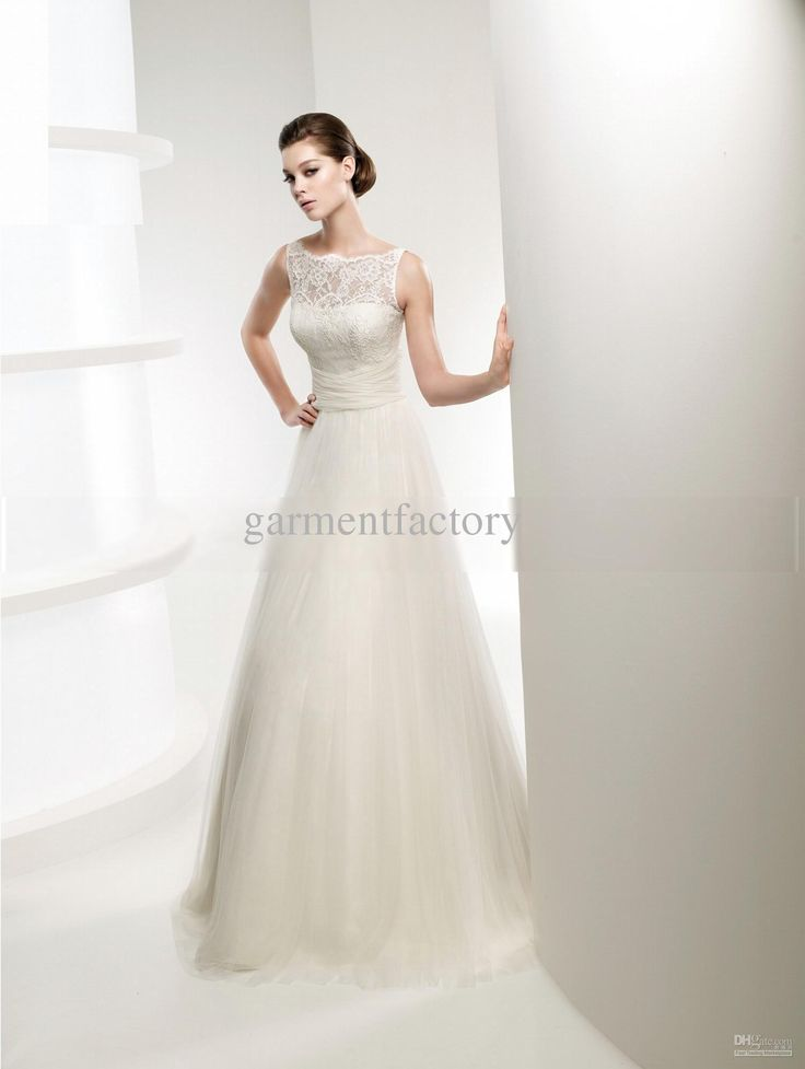 Nice Simple Ivory Lace Top Tulle Wedding Dresses High Neck A line Brush Train Wedding Dress