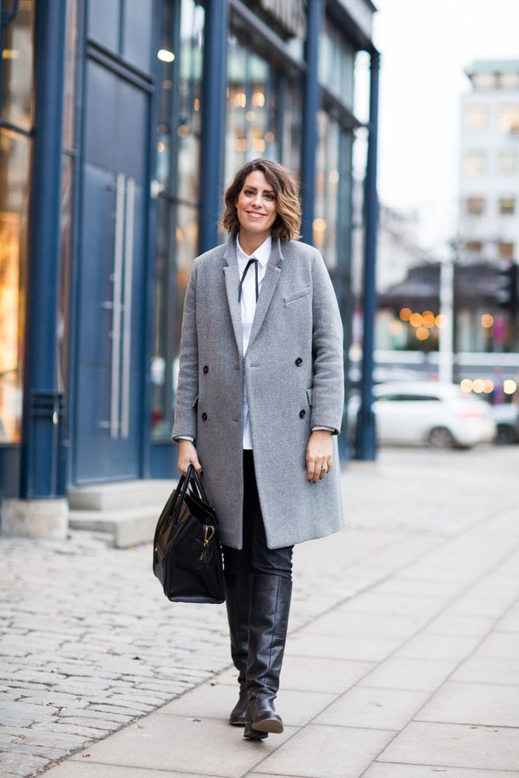 Nina Campioni at Stockholm Fashionweek caught by streetstyle photographer wearing House of Dagmar coat, Celine bag, Daisy Grace shirt, Blankens boots and H&M denim. Welcome to my blog!