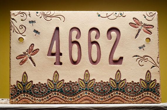 Custom Ceramic House Number Sign, DRAGONFLIES