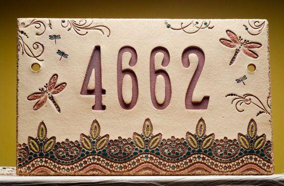 Custom House Numbers DRAGONFLIES Handmade Ceramic by FineClayArt